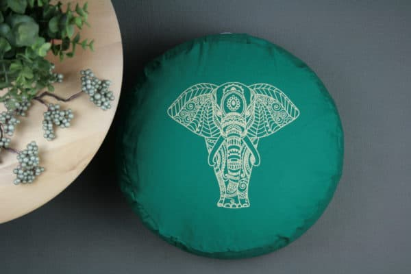 Meditationskissen Grün Elefant in Gold