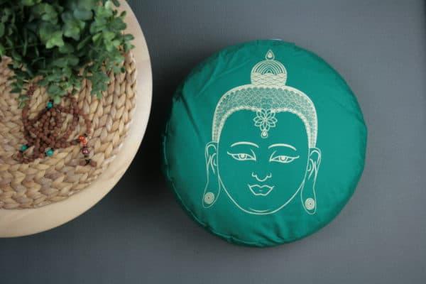 Meditationskissen mit Buddhakopf