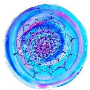 Lebensblumenbild in Blautönen
