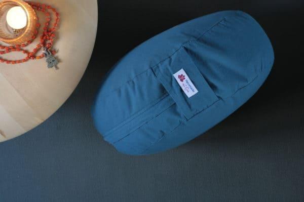 Seitenansicht Yogakissen Jeansblau