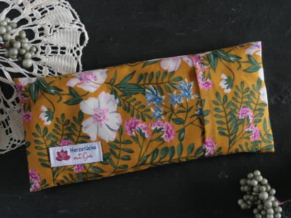 Senfgelb floral gemustertes Augenkissen