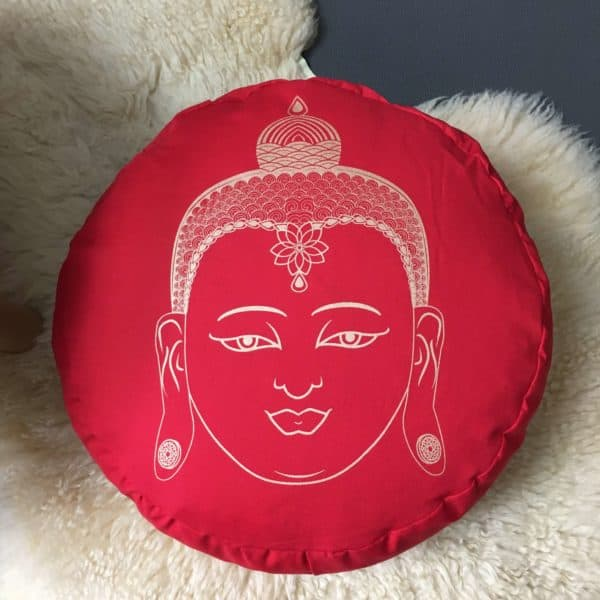 Yogakissen Buddha in Rot