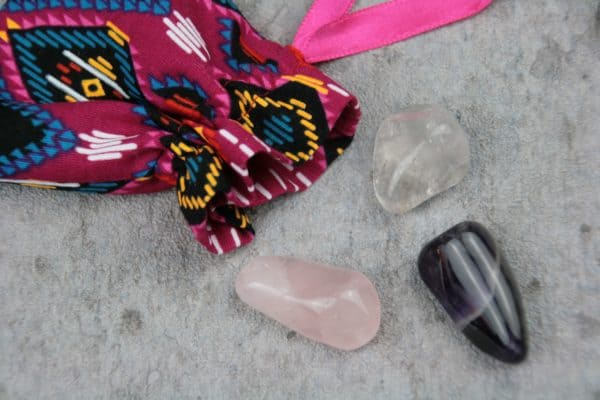 Amethyst, Bergkristall und Rosenquarz